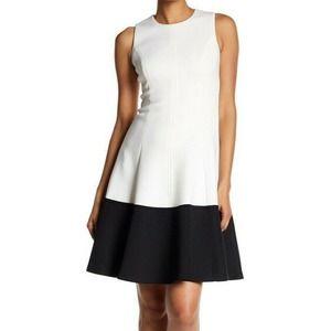 Calvin Klein NWT 8 Skater Dress Black Color Block
